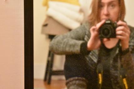 Selfie in dirty mirror